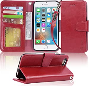 Arae Case for iPhone 6s / iPhone 6, Premium PU Leather Wallet case [Wrist Strap] Flip Folio [Kickstand Feature] with ID&Credit Card Pockets for iPhone 6s / 6 4.7 inch (Wine Red)