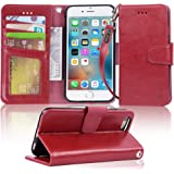 Iphone 6s Case, iphone 6 case, Arae Apple Iphone 6 / 6s [Wrist Strap] Flip Folio [Kickstand Feature] PU leather wallet case with ID&Credit Card Pockets (Wine Red)