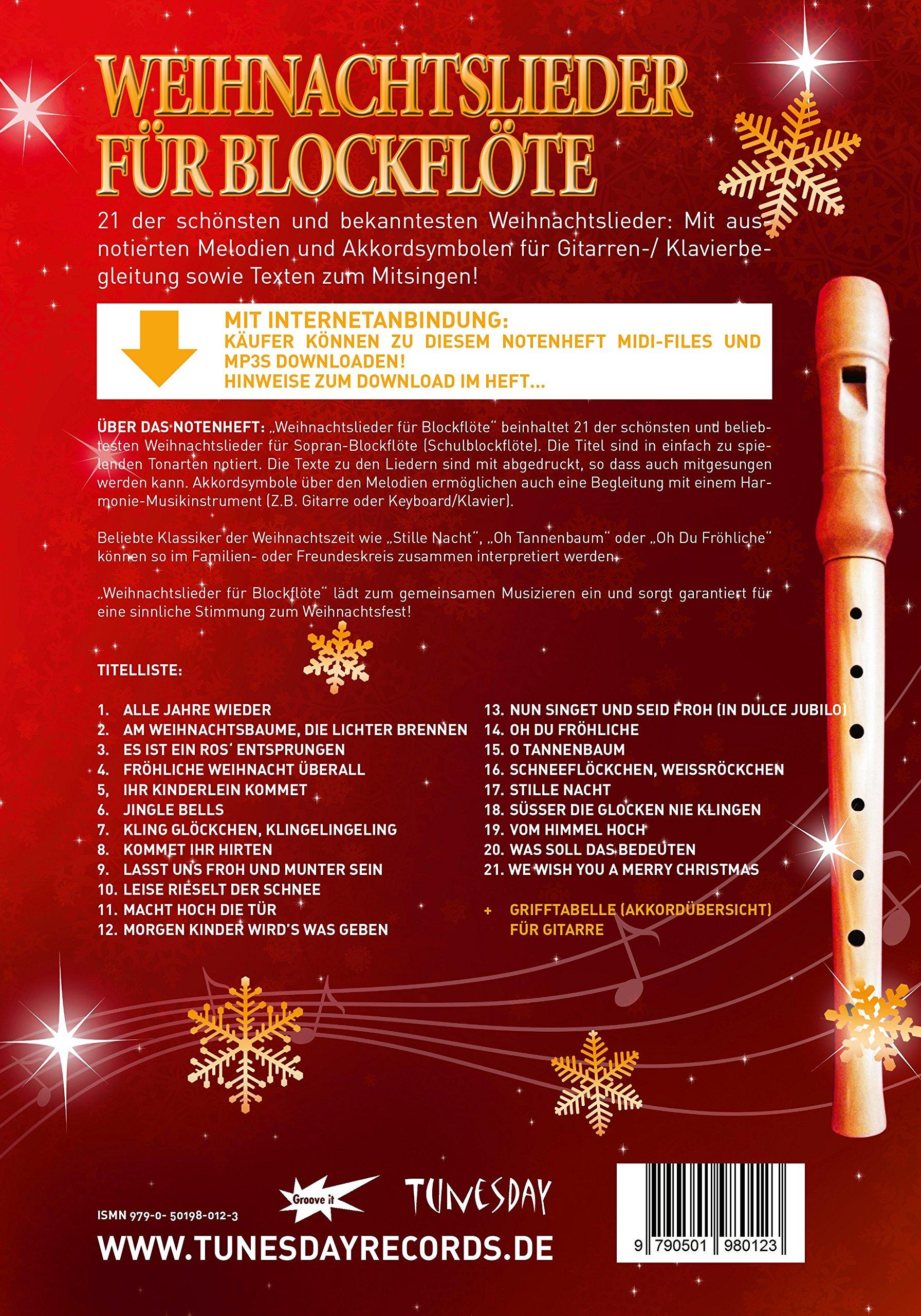 Weihnachtslieder für Blockflöte - mit Liedtexten & Akkordsymbolen ...