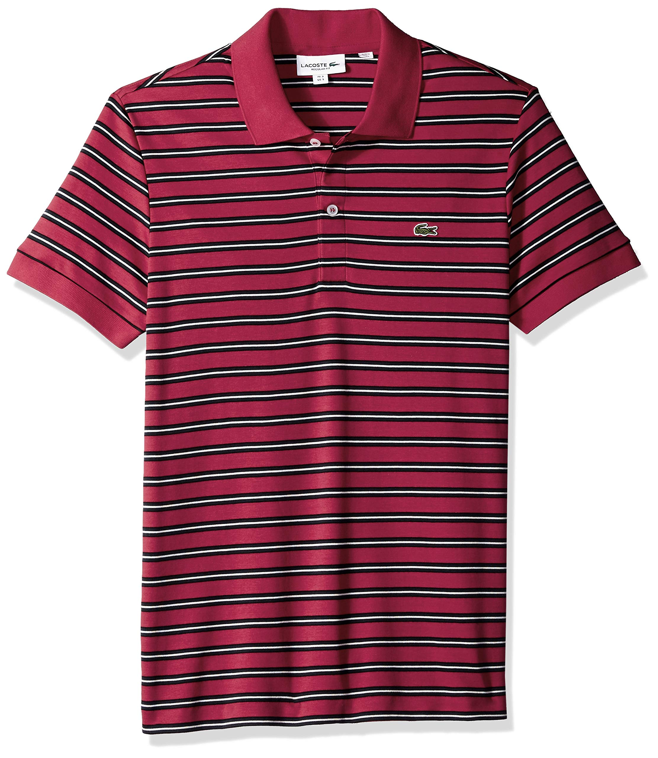 Lacoste Men's Short Sleeve Pima Reg Fit Fine Stripe Polo, Persian Red/Black/Meridian, XX-Large