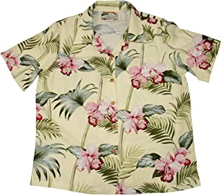 product image for Paradise Found Women's Orchid Corsage Palm Aloha Shirt, Yellow, XXL
