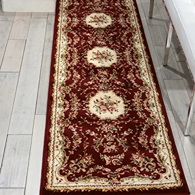 "Nourison Bordeaux Traditional Runner Area Rug, 2'2"" x 7'6"", Burgundy"