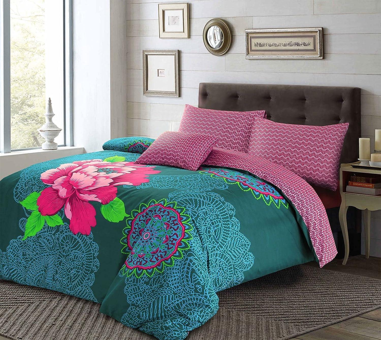 Janice Bohemian Boho Floral Duvet Cover and Pillowcases Teal Plum