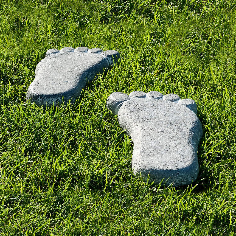 Trittsteine Deko Steine Fu/ß 2er Set je 30x16 cm