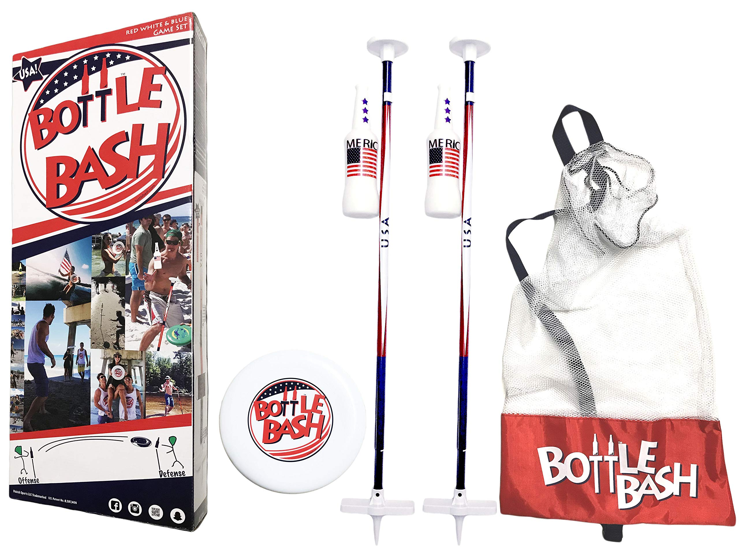Bottle Bash USA Game Set with Soft Surface Spike (Polish Horseshoes, Beersbee)