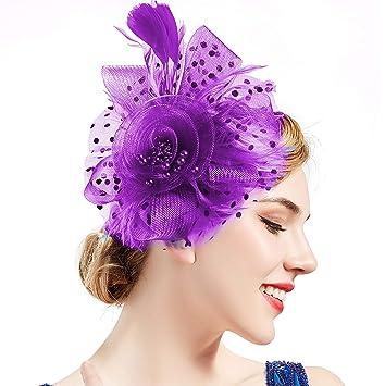 BABEYOND Women s Fascinators Hat Mesh Feather Fascinator Flower Hair Clip  Veil Derby Hat Bridal 1920s Headpiece 5f72f7128a5