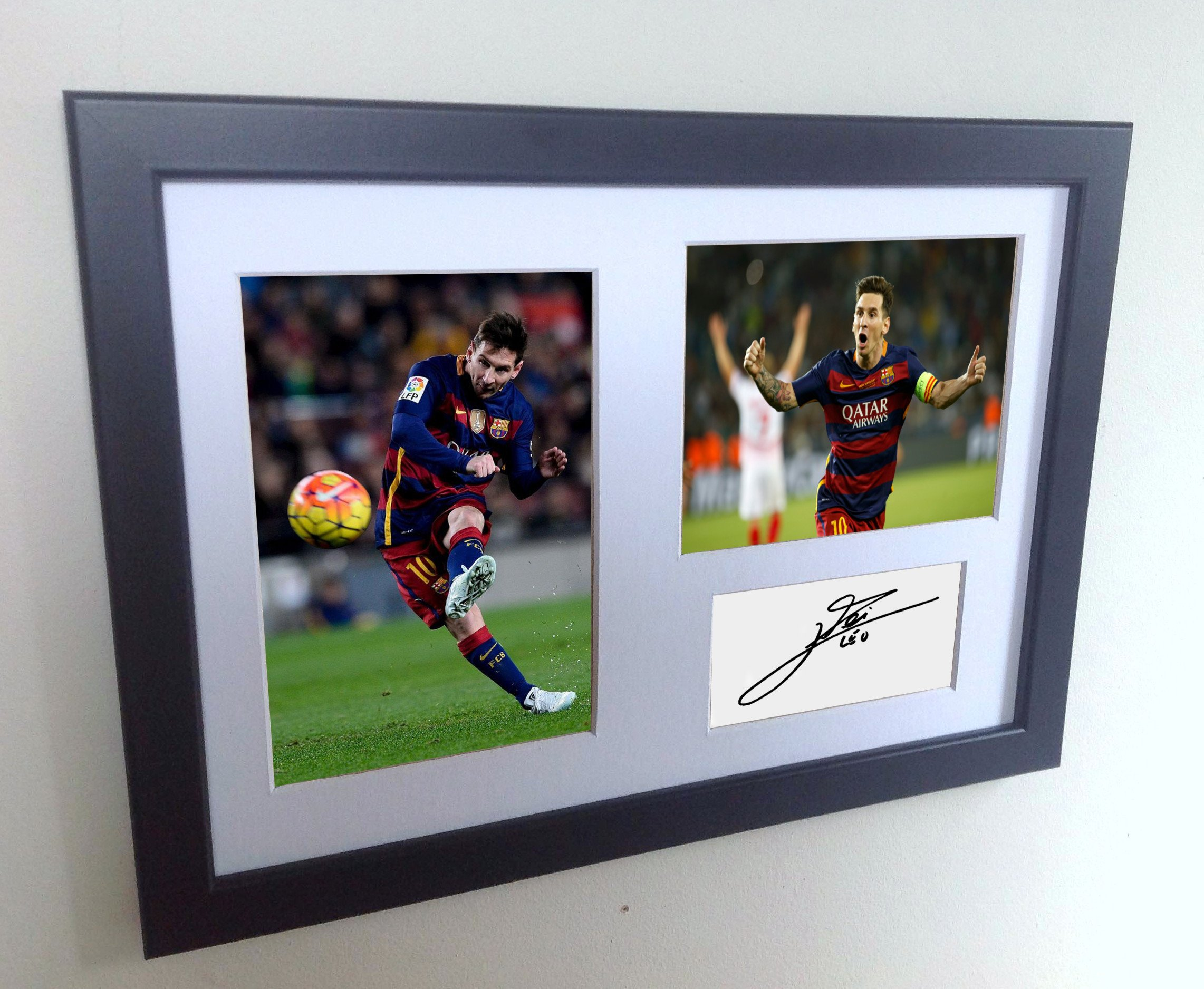 Signed Lionel Messi Barcelona Photo Photograph Picture Frame Autograph Mount Football Soccer Gift A4 by Kicks