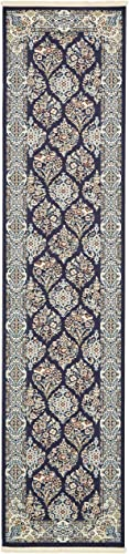 Unique Loom Narenj Collection Classic Traditional Repeating Pattern Navy Blue Runner Rug 3 0 x 13 0