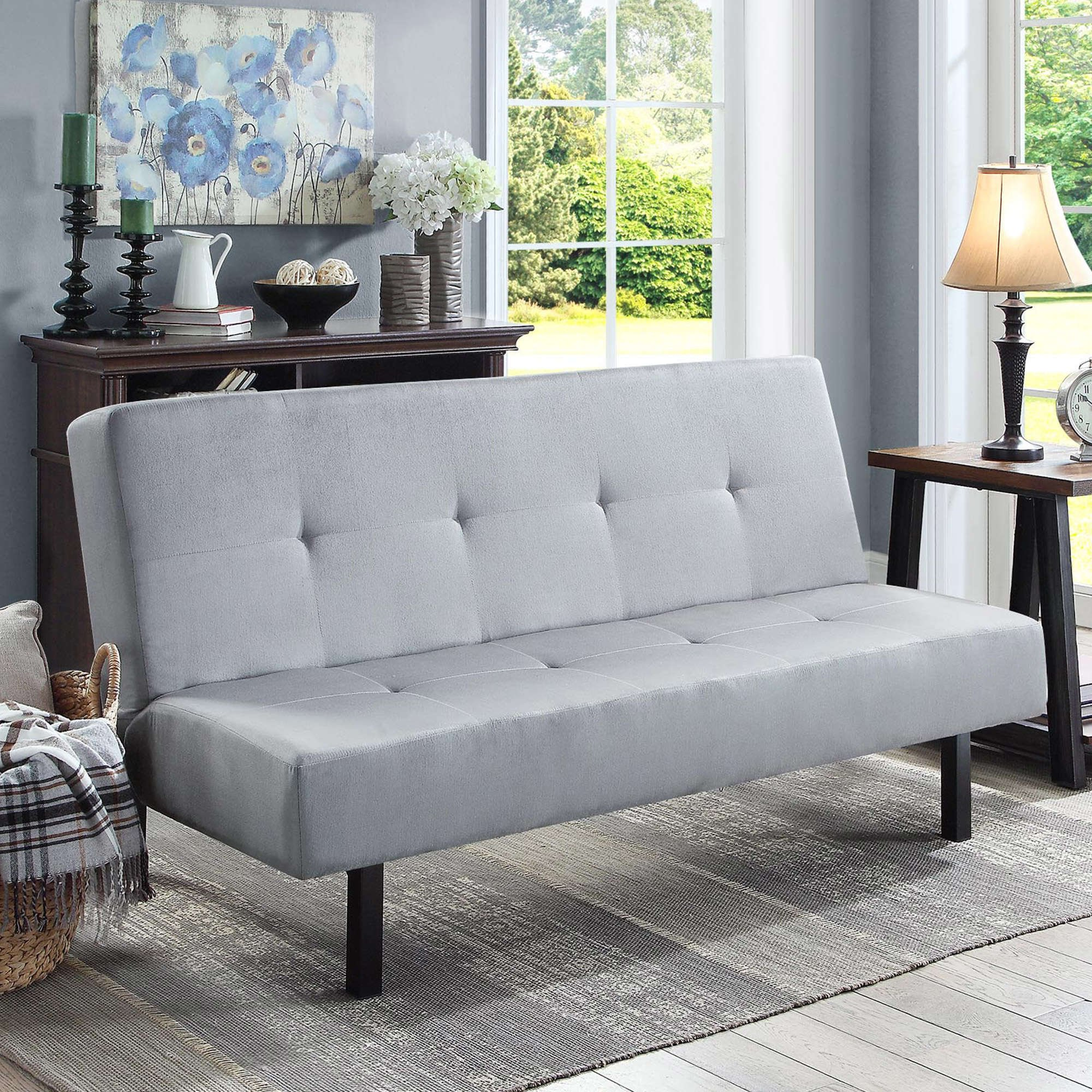 Gray Functional 3-Position Tufted Futon, Padded Cushions, Sturdy Square Metal Legs & Metal Frame, Plush Microfiber Upholstery, Ideal As a Sofa, Lounger & Sleeper, Amazing & Comfortable by eCom Rocket LLC