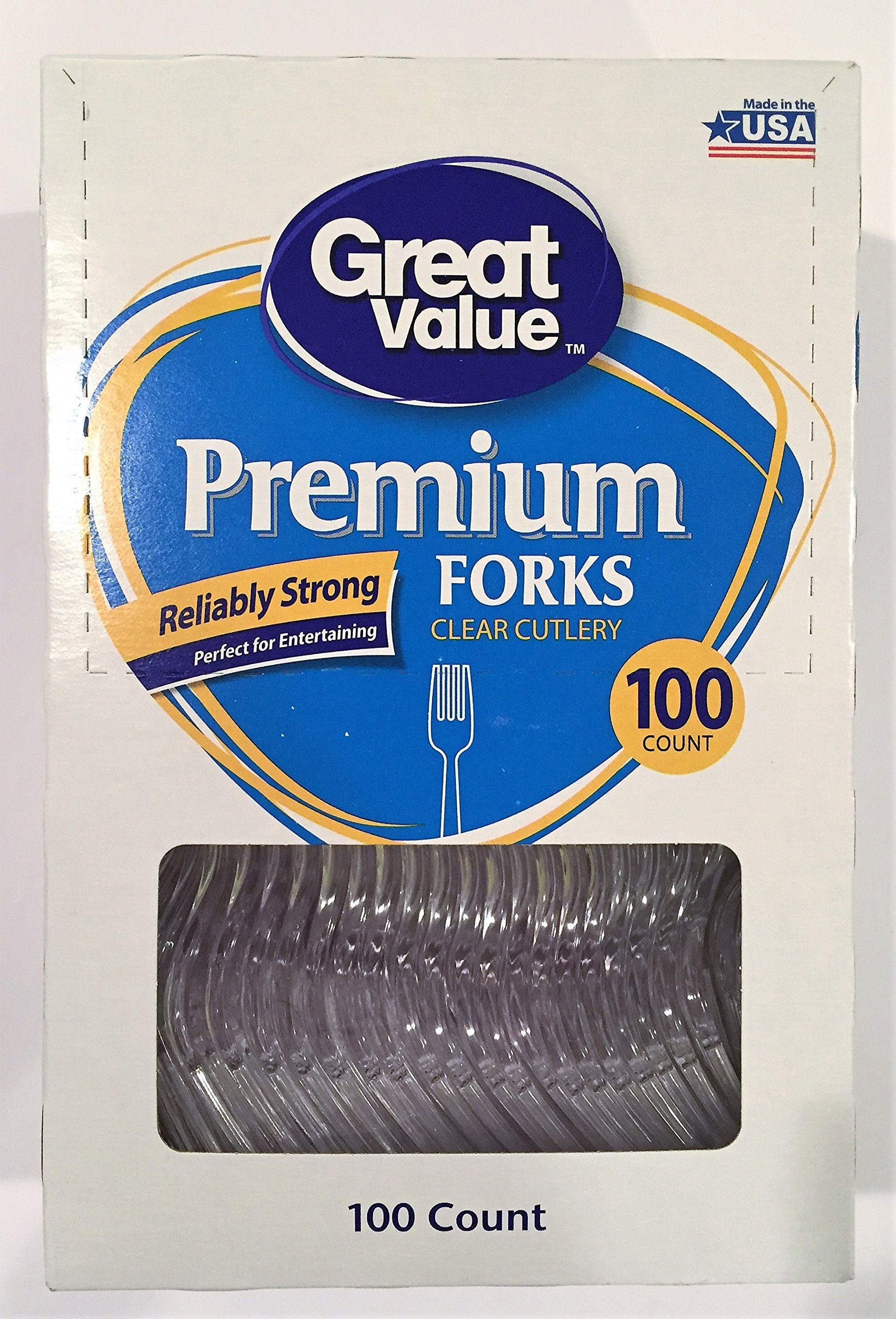 Great Value Pack Premium Disposable Plastic Forks, 100ct (1)