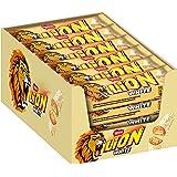 Nestlé LION White, Schokoriegel mit weißer Glasur, leckerer Karamell-Füllung und knuspriger Waffel, Süßigkeiten Großpackung, Menge: 24er Pack (24 x 42 g)