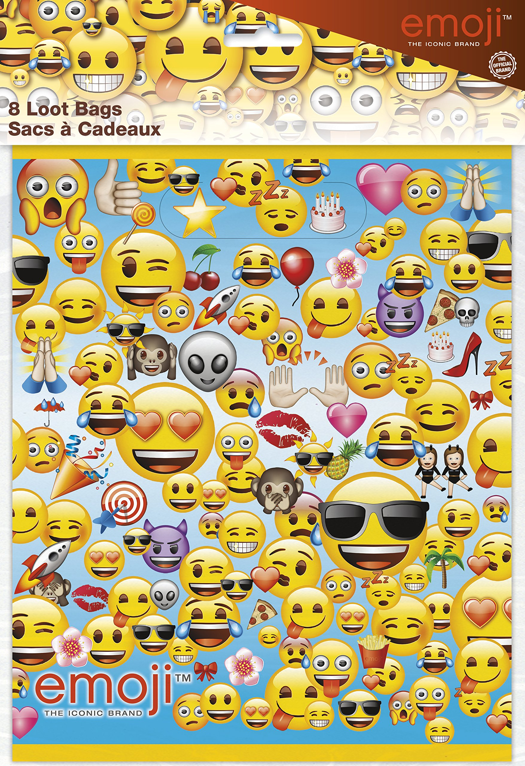 Unique Party 50613 - Emoji Party Bags, Pack of 8