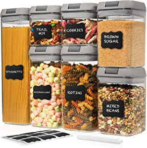 Shazo Airtight Container Set for Food Storage - 7 Piece Set + w/Grey Interchangeable Lids - Heavy Duty Plastic - BPA Free - Airtight Storage Clear Plastic kitchen counter storage Bin -18 Labels+Marker