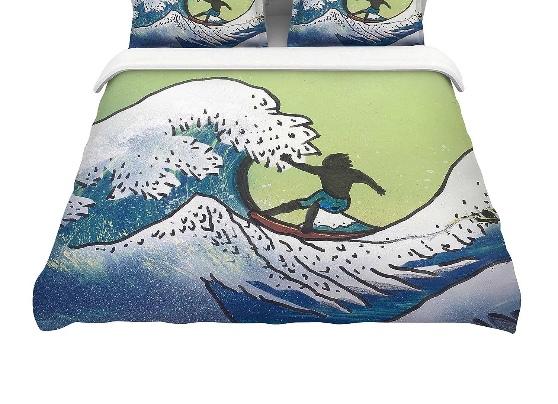 88-Inch Kess InHouse Infinite Spray Art Hokusai Remake Blue Green Queen Cotton Duvet Cover