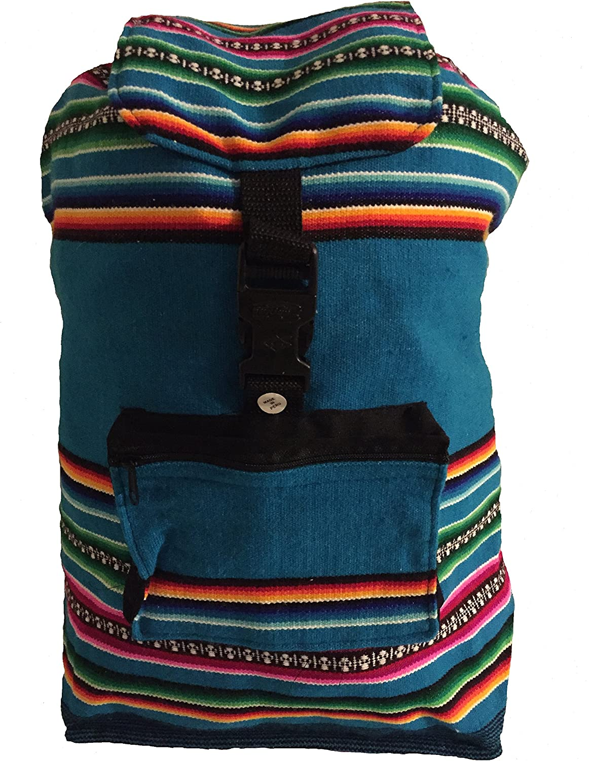 Beach Bag, Backpack-Teal Blue Rainbow