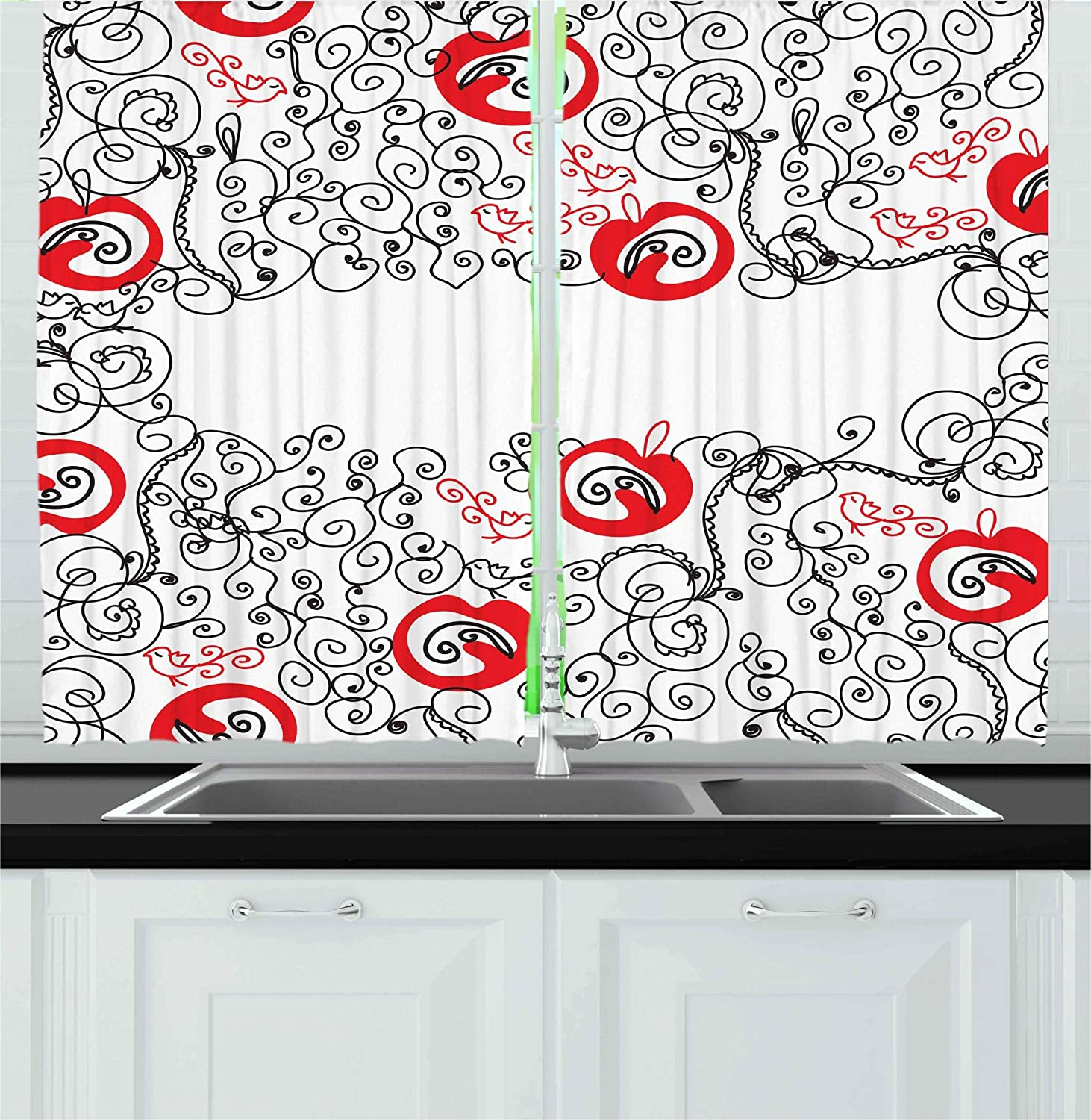 Ambesonne red and black kitchen curtains minimalist home decor themed sketchy birds swirls and apple shapes window drapes 2 panels set for kitchen cafe