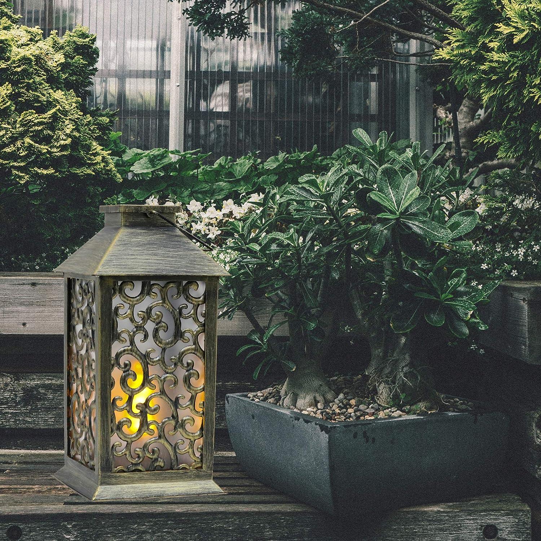 TERESAS COLLECTIONS Lanterna solare 36cm Luci da giardino in plastica con motivo a nuvole Lampade solari Lanterne da giardino per lampada a fiamma da esterno Giardino da esterno Primavera e Estate