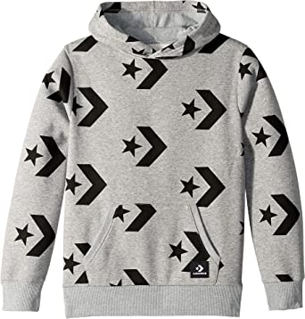 e2b84bf6f306 Amazon.com  Converse Kids Boy s Star Chevron Print Pullover Hoodie (Big  Kids) Dark Grey Heather Small  Clothing