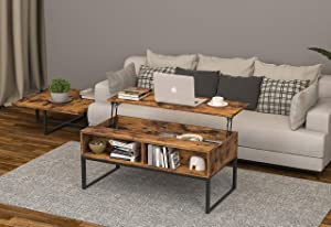 Rustic Lift Top Coffee Table w/Hidden Compartment & Storage Space - Lift Tabletop for Living Room Furniture, Rustic Brown