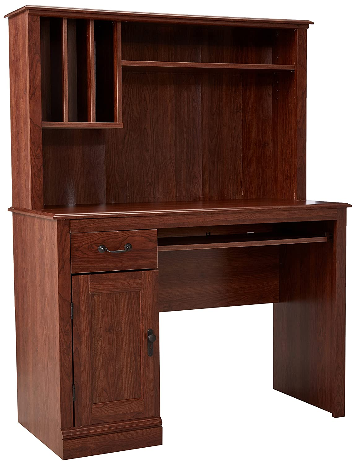 Sauder Camden County Computer Desk with Hutch, Planked Cherry Finish 101736
