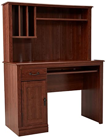sauder camden county computer desk with hutch planked cherry finish