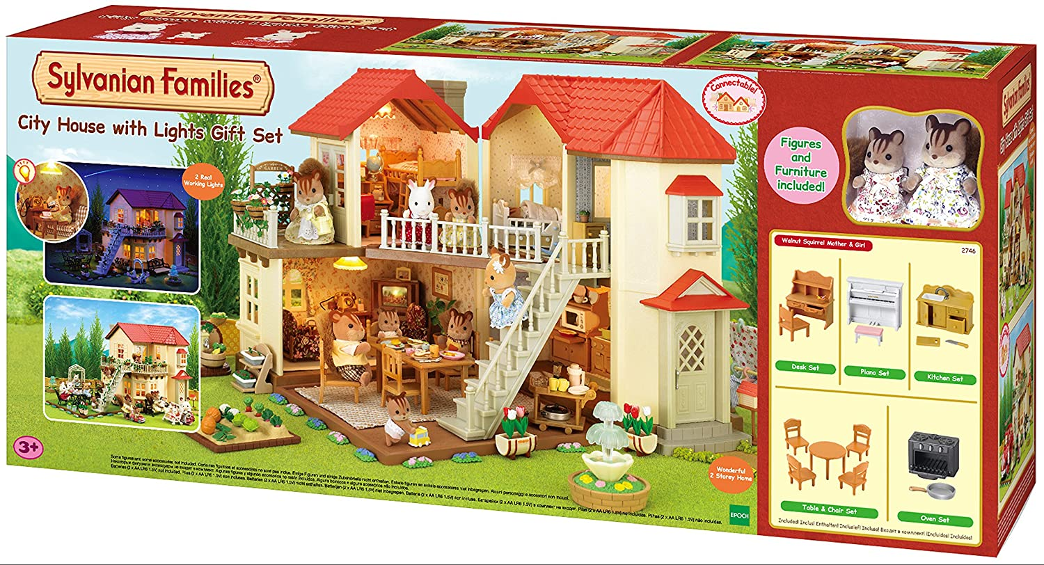 Sylvanian families 2746 town house with light multicolor amazon co uk toys games