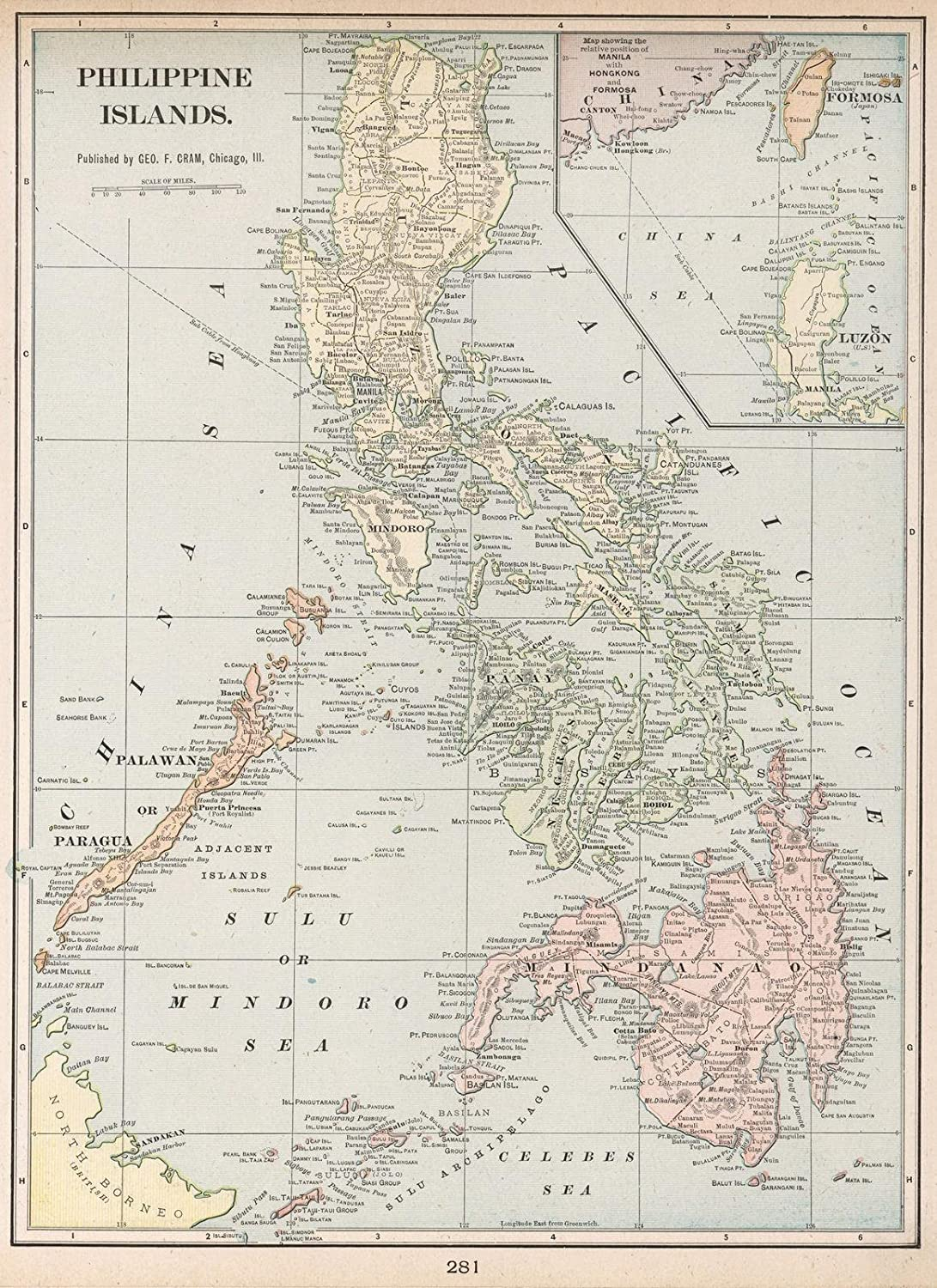 Amazon.com: World Atlas | 1901 Philippine Islands | Historic Antique Vintage Map Reprint: Posters & Prints