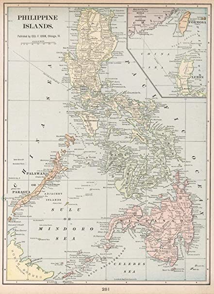 World Atlas | 1901 Philippine Islands | Historic Antique Vintage Map Reprint