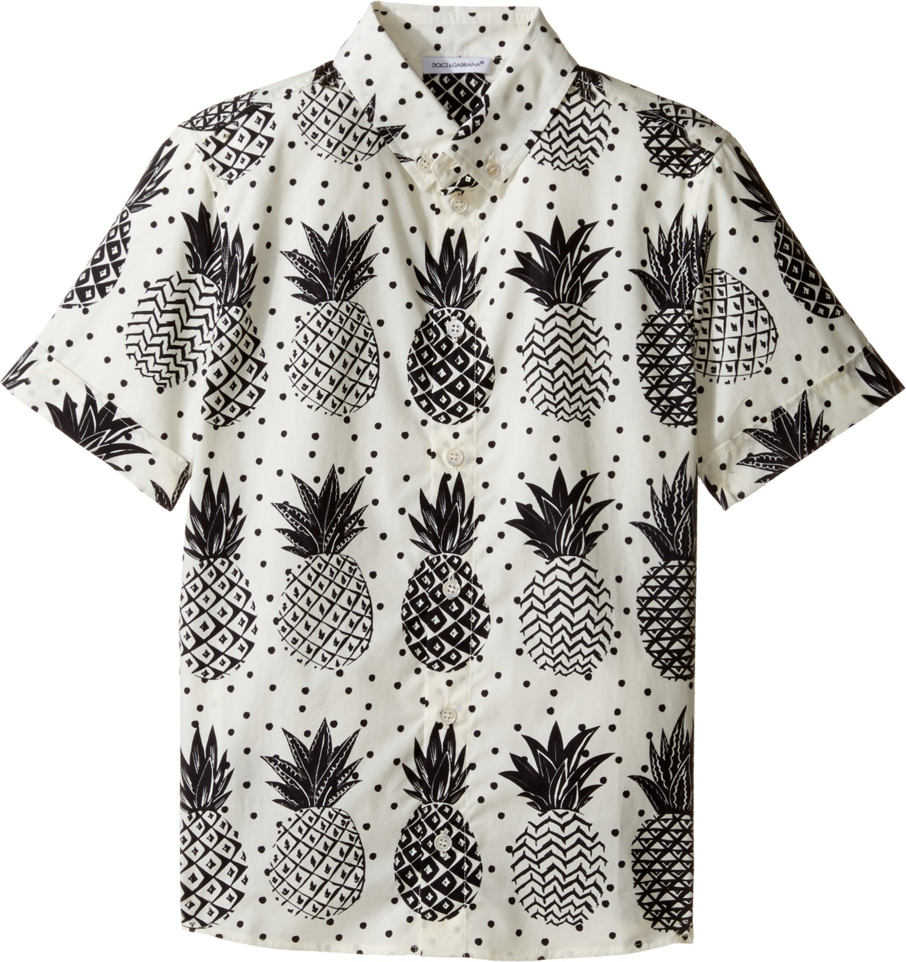 Dolce & Gabbana Kids Boy's Pineapple Button Down (Big Kids) White Print Button-up Shirt by Dolce & Gabbana
