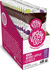 Veggie-Go's Organic Fruit and Veggie Strip with No Added Sugar, Berry, Apple, Spinach, 0.42 Ounce (Pack of 20)