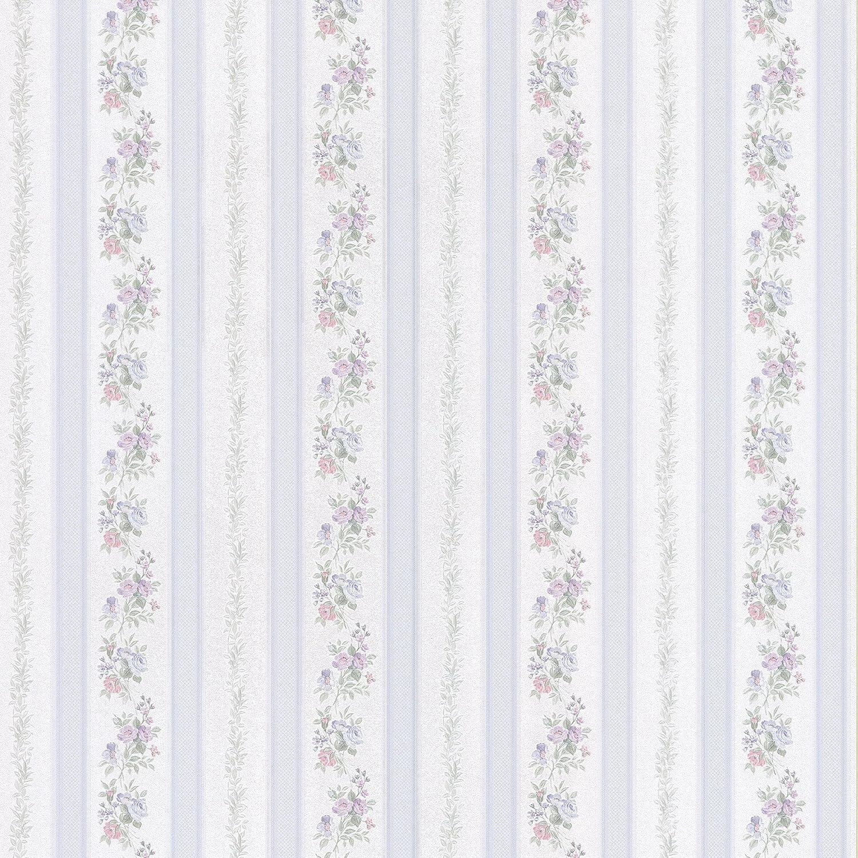 Brewster 414 56031 Princess Light Blue Floral Stripe Wallpaper