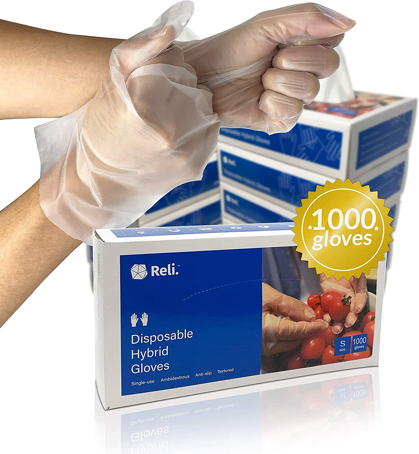 Reli. Disposable Gloves, Small | 1000 Pack, Bulk | S/M/L/XL Available | Hybrid Plastic Gloves | Latex Free Disposable Gloves/Powder Free | Clear Plastic Gloves for Food Service Hand Protection (S)