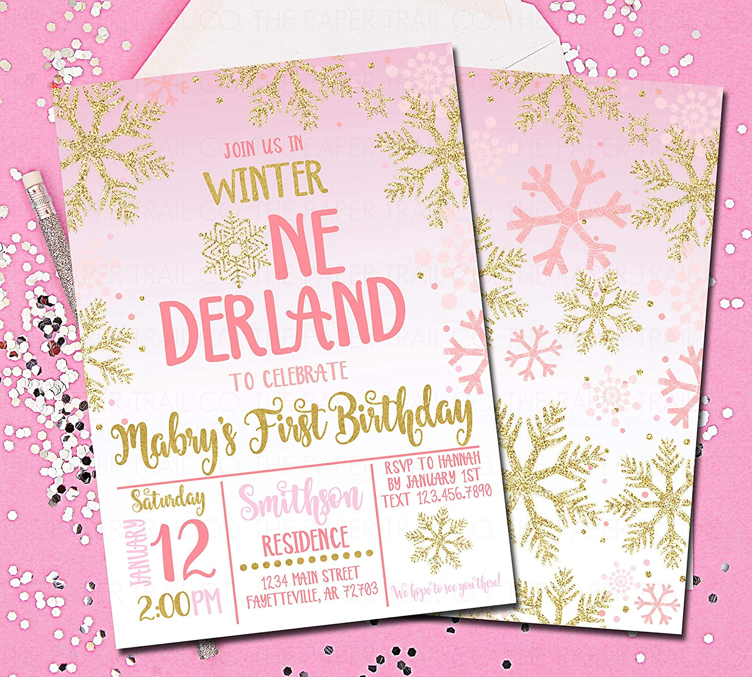 Amazon Com Winter Onederland Invitations 1st Birthday
