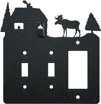 Moose Cabin Double Toggle Light Switch Single Gang Rocker Gfci Wall Plate Double Toggle With Gfci Rocker Black Amazon Com