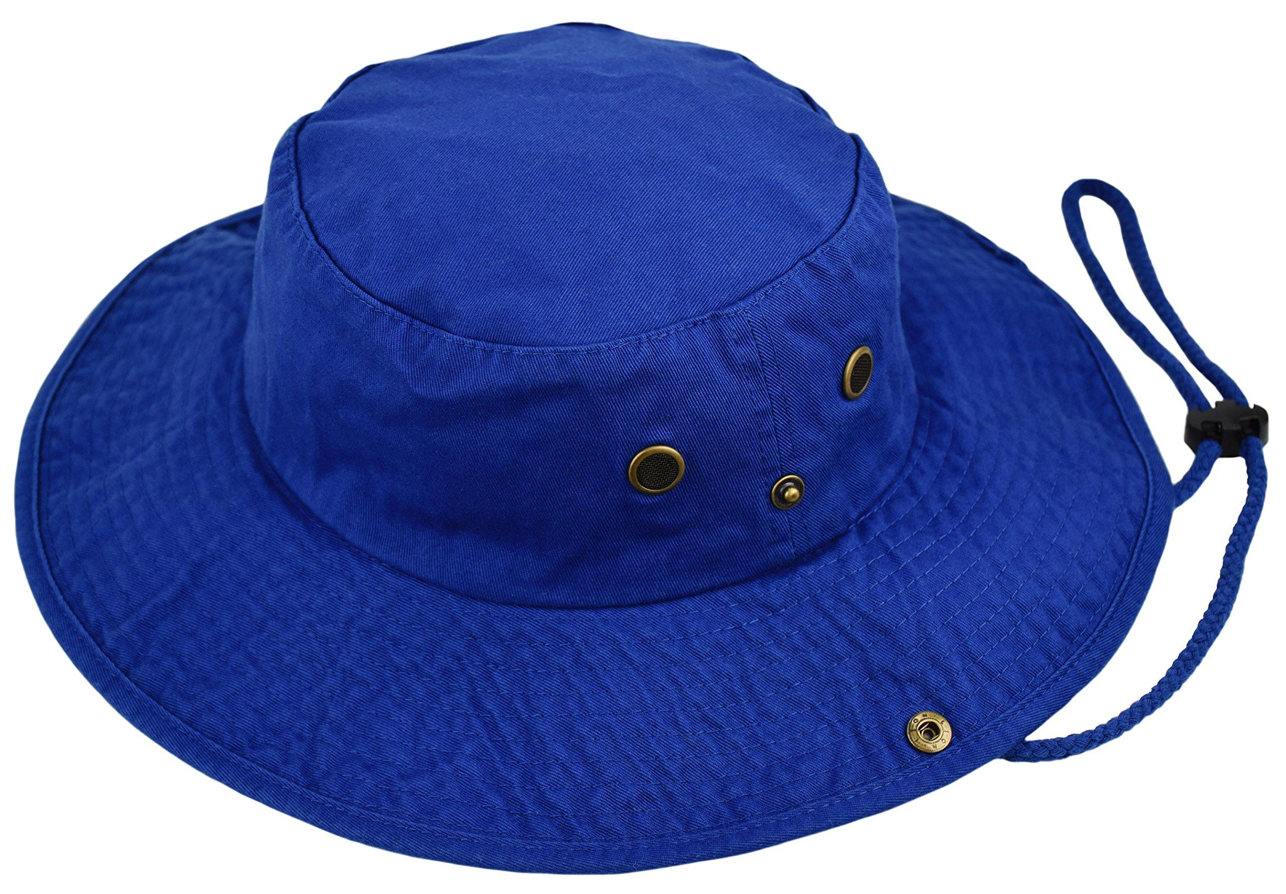Deewang Summer Bucket Cap, Sun Hat With Adjustable CHINSTRAP, Outdoor Hunting Fishing Safari boonie Hat (Royal-Blue, Small/Medium)