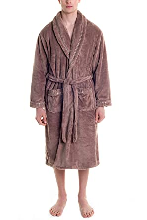 Mens Fleece Robe Long Plush Super Soft and Warm Bathrobe Cozy Fluffy Shower  Robe Light Brown 9f8498a23