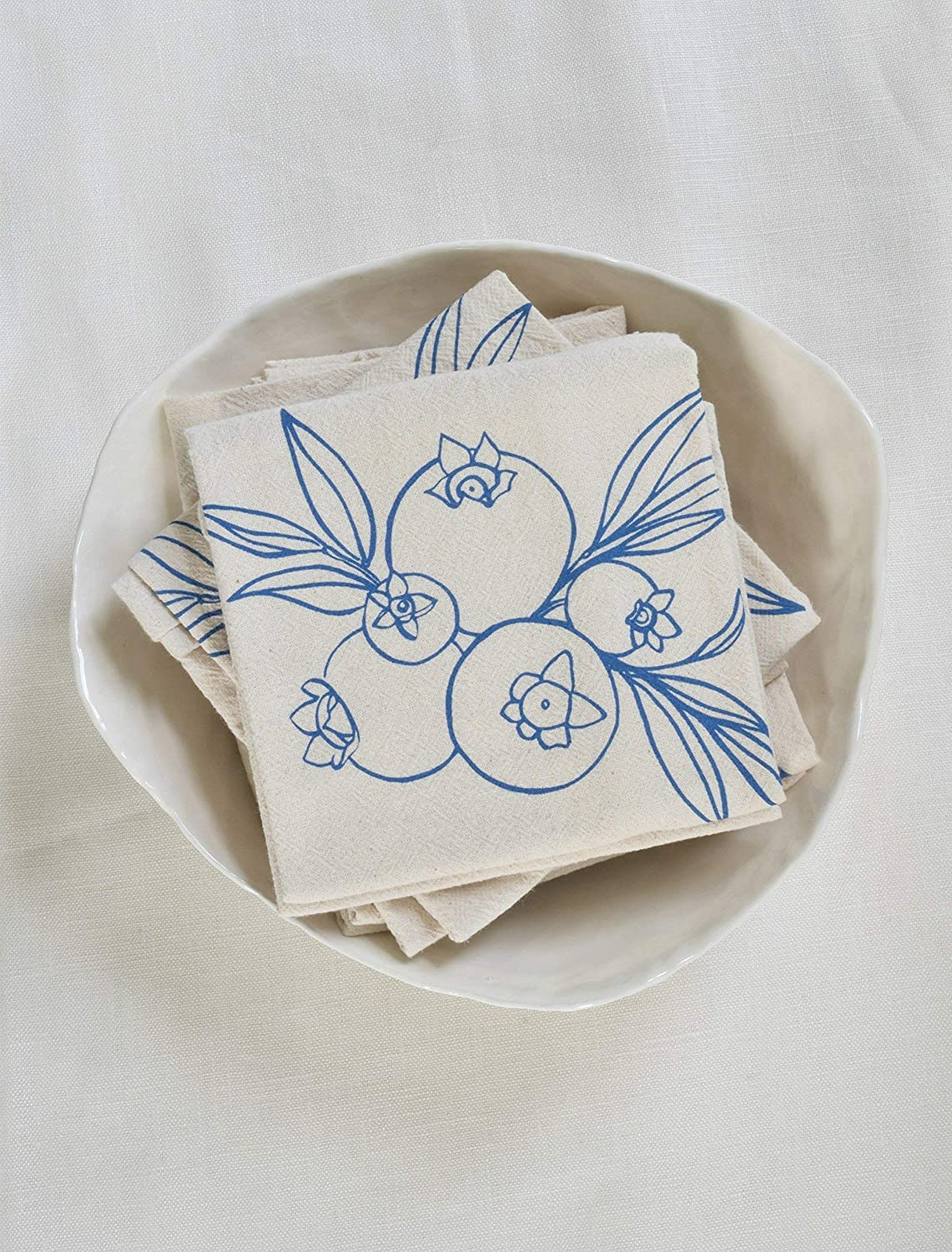 Cloth Napkins - Set of 4 - Wild Blueberry Design in Blue-violet - Organic Cotton