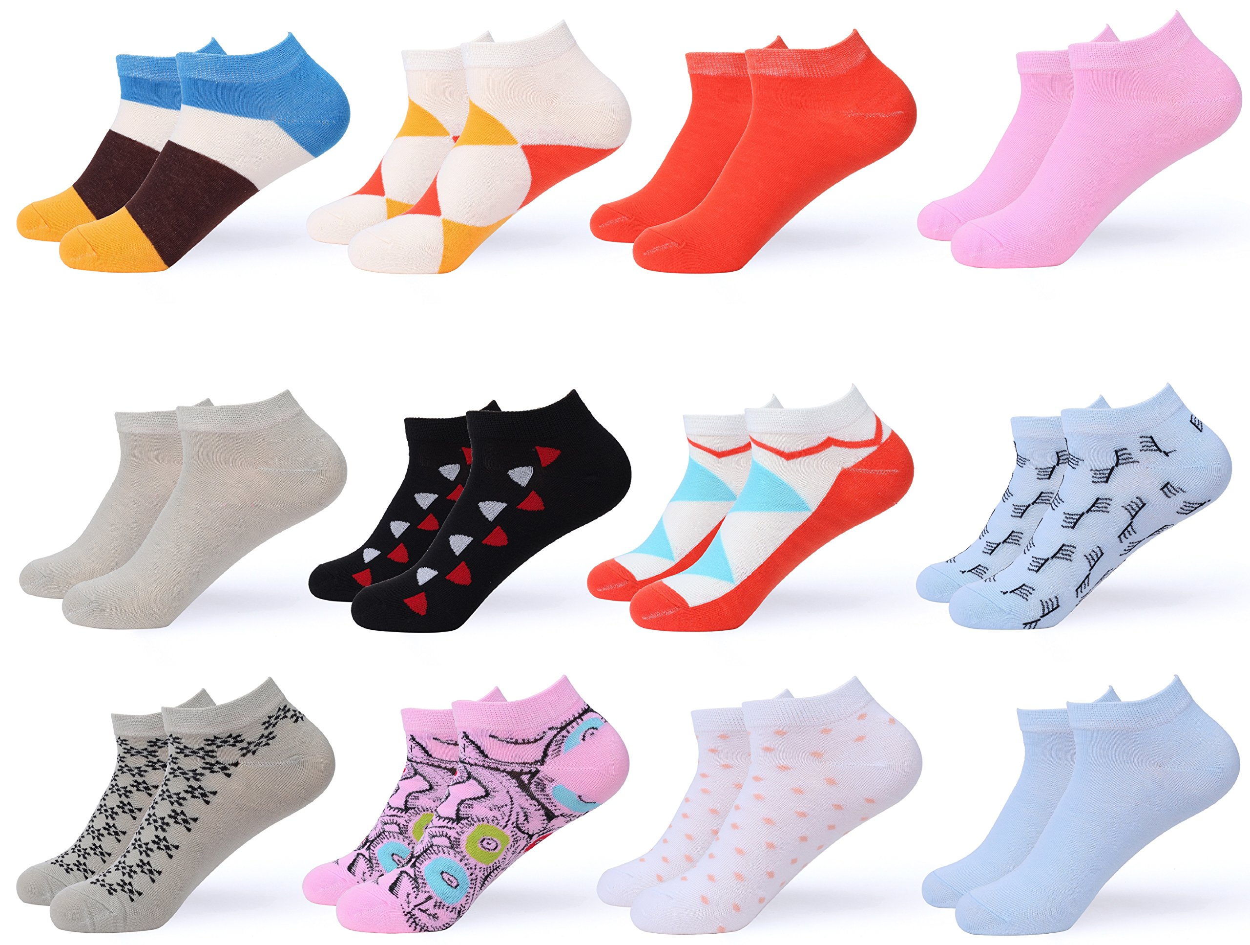 Gallery Seven Women's Ankle Socks - Low Cut Colorful Socks For Women - Size 9-11 - 12 Pack (Style - 5)