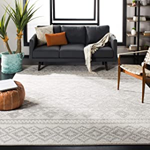Safavieh Adirondack Collection Ivory and Silver Rustic Bohemian Area Rug (8' x 10')
