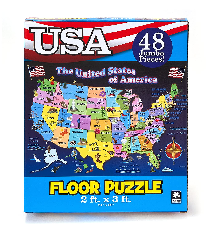 Amazon.com: Educational USA Floor Map 48 Piece Floor Puzzle Measures ...