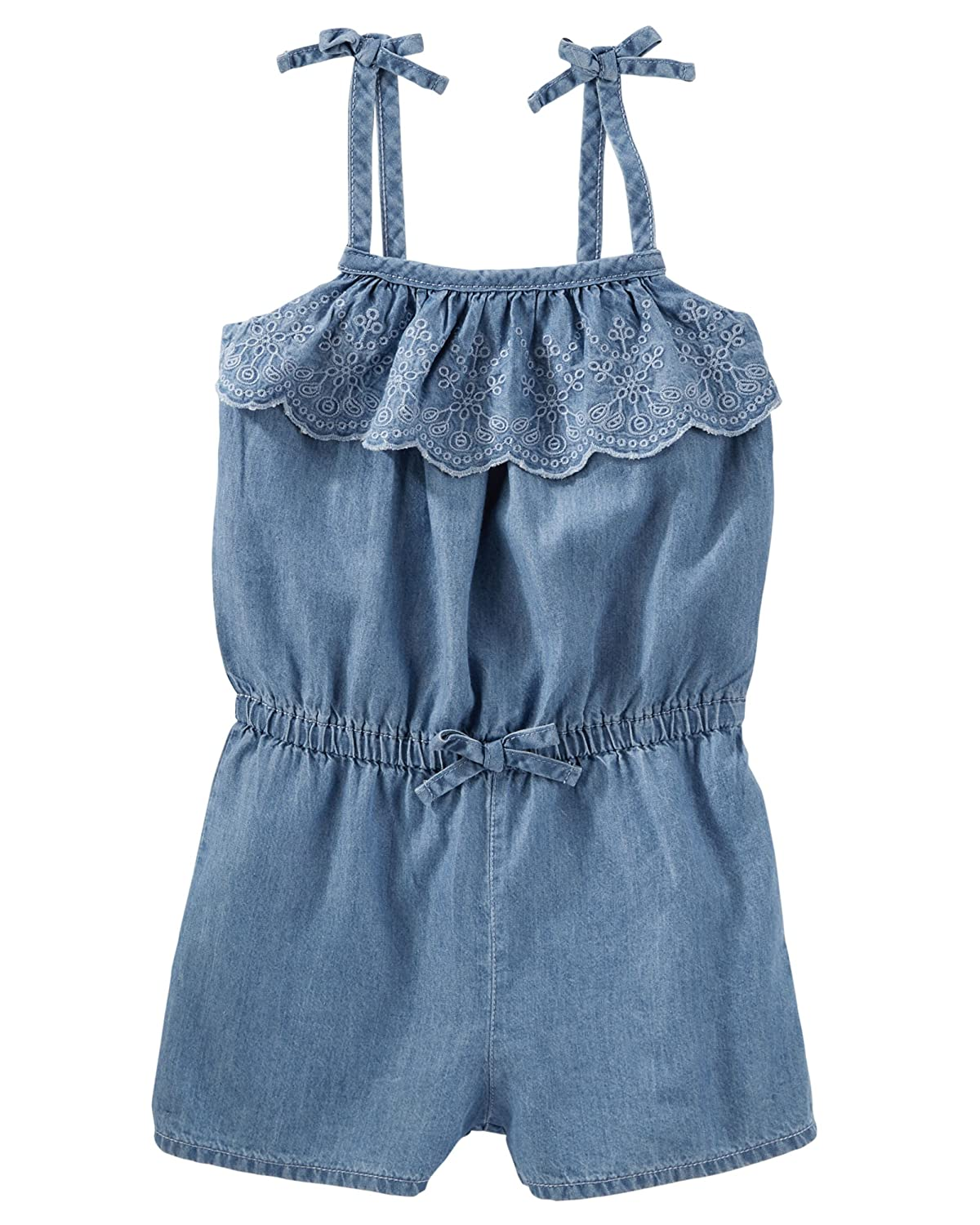 OshKosh Bgosh Little Girls Eyelet Ruffle Chambray Romper 2T