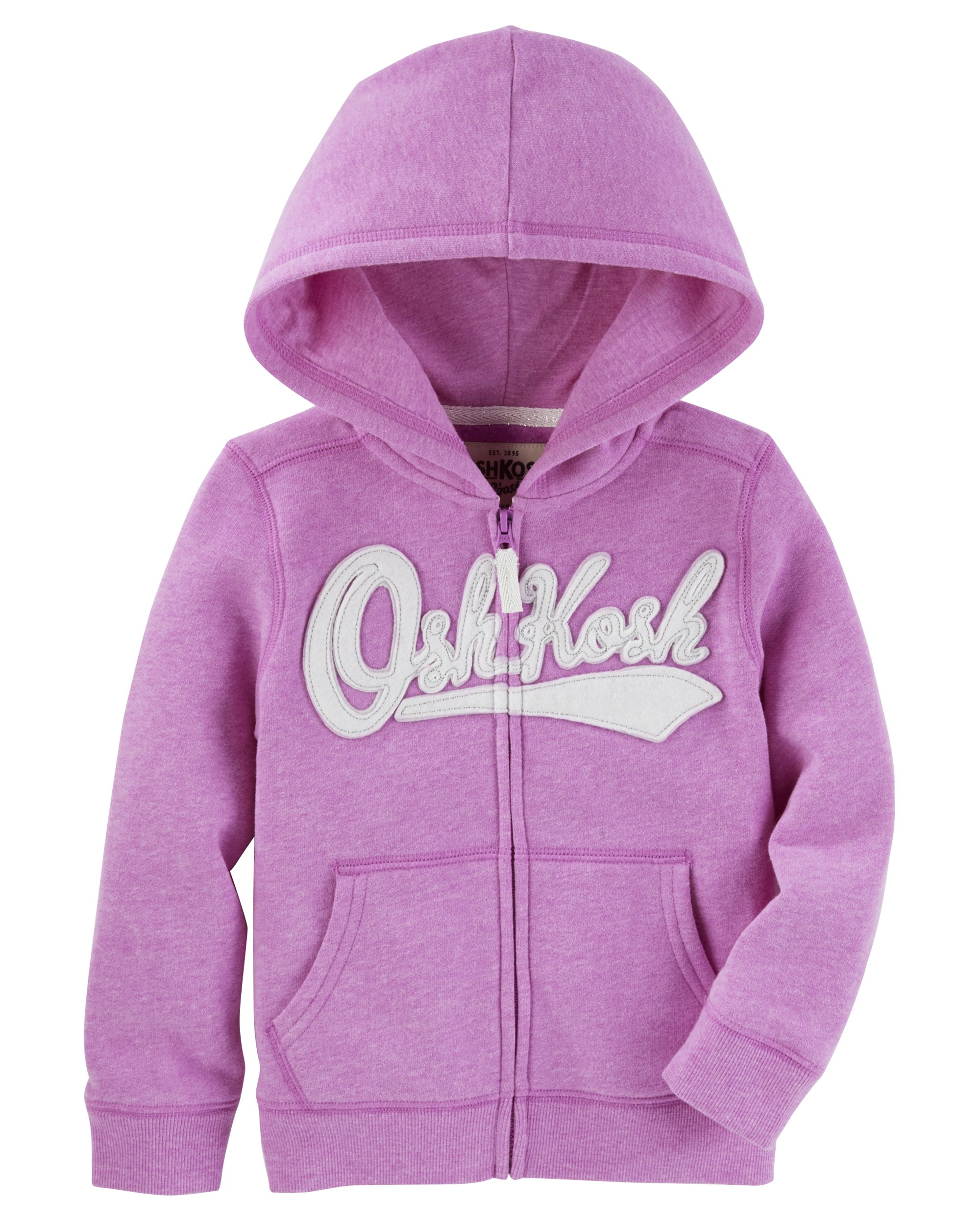 Osh Kosh Girls' Kids Full Zip Logo Hoodie, Purple, 6