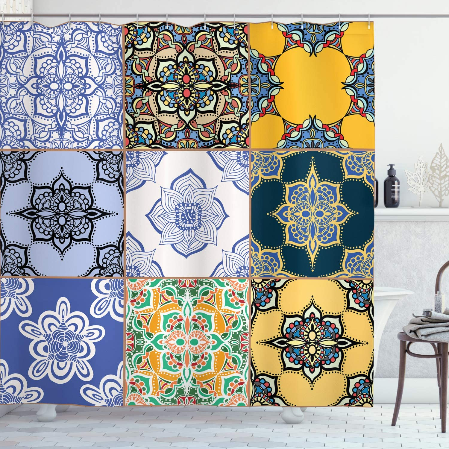 Ambesonne Moroccan Shower Curtain, Portuguese Tile Patterns Various Tones Textures Bohemian Print, Cloth Fabric Bathroom Decor Set with Hooks, 70