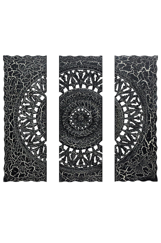 Orientalische Holz Ornament Wanddeko Rajab 120cm gross XXL XXL XXL   Orientalisches Wandbild Wanpannel als Wanddekoration   Vintage Triptychon als Dekoration im Schlafzimmer oder Wohnzimmer 3 teilig (weiss) 8db65e