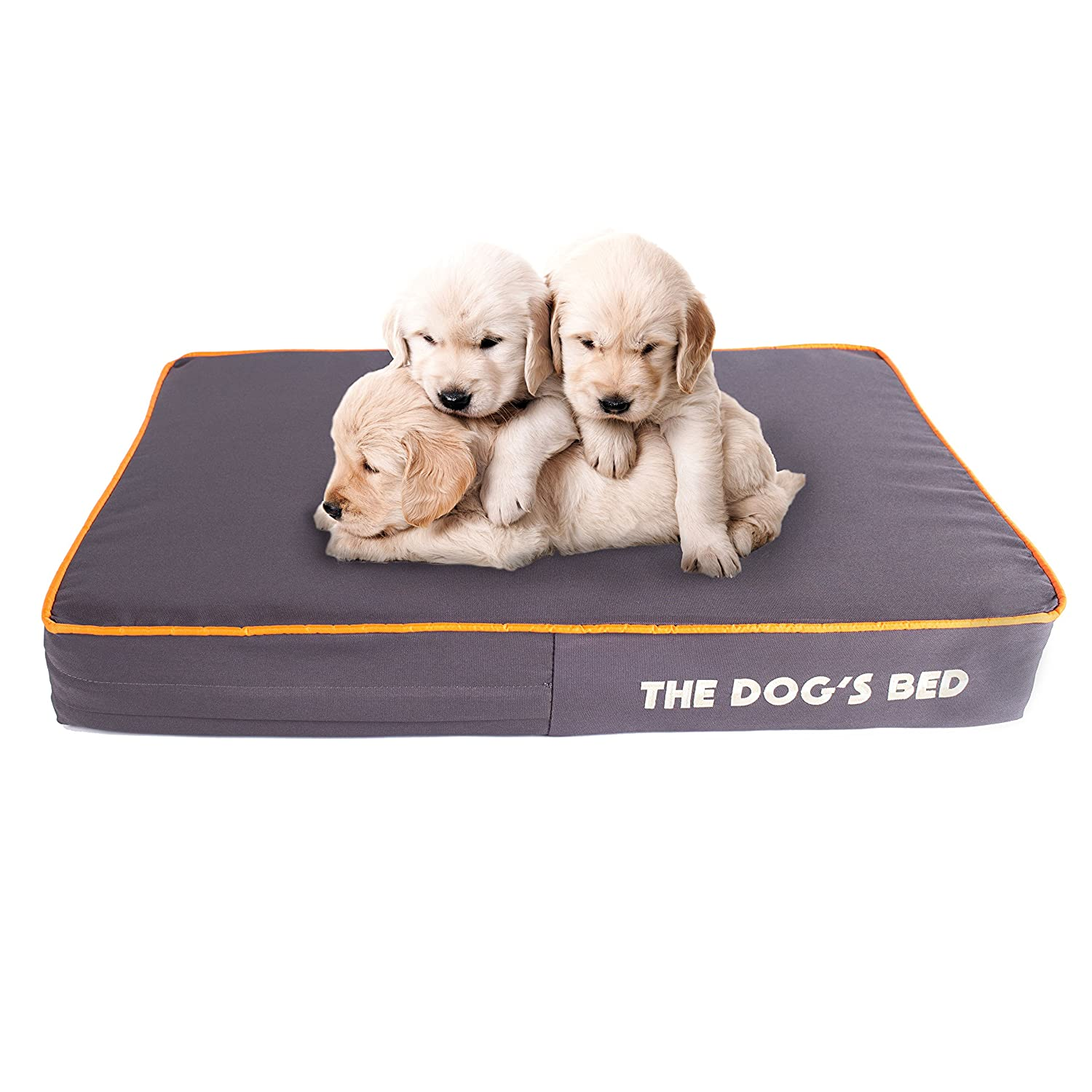 Grey with orange Trim Small Bed (71x48x10cm)The Dog's Bed, Premium Orthopedic Waterproof Memory Foam Dog Beds, 5 Sizes 7 Colours  Eases Pet Arthritis, Hip Dysplasia & Post Op Pain, Quality Therapeutic Supportive Bed, Washable Oxford Cover