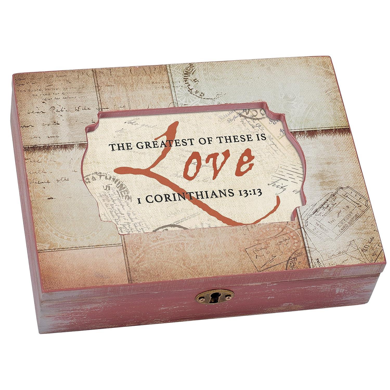 Cottage Garden Caja de música con texto en inglés laquo;Greatest of these Is Love Passportraquo;