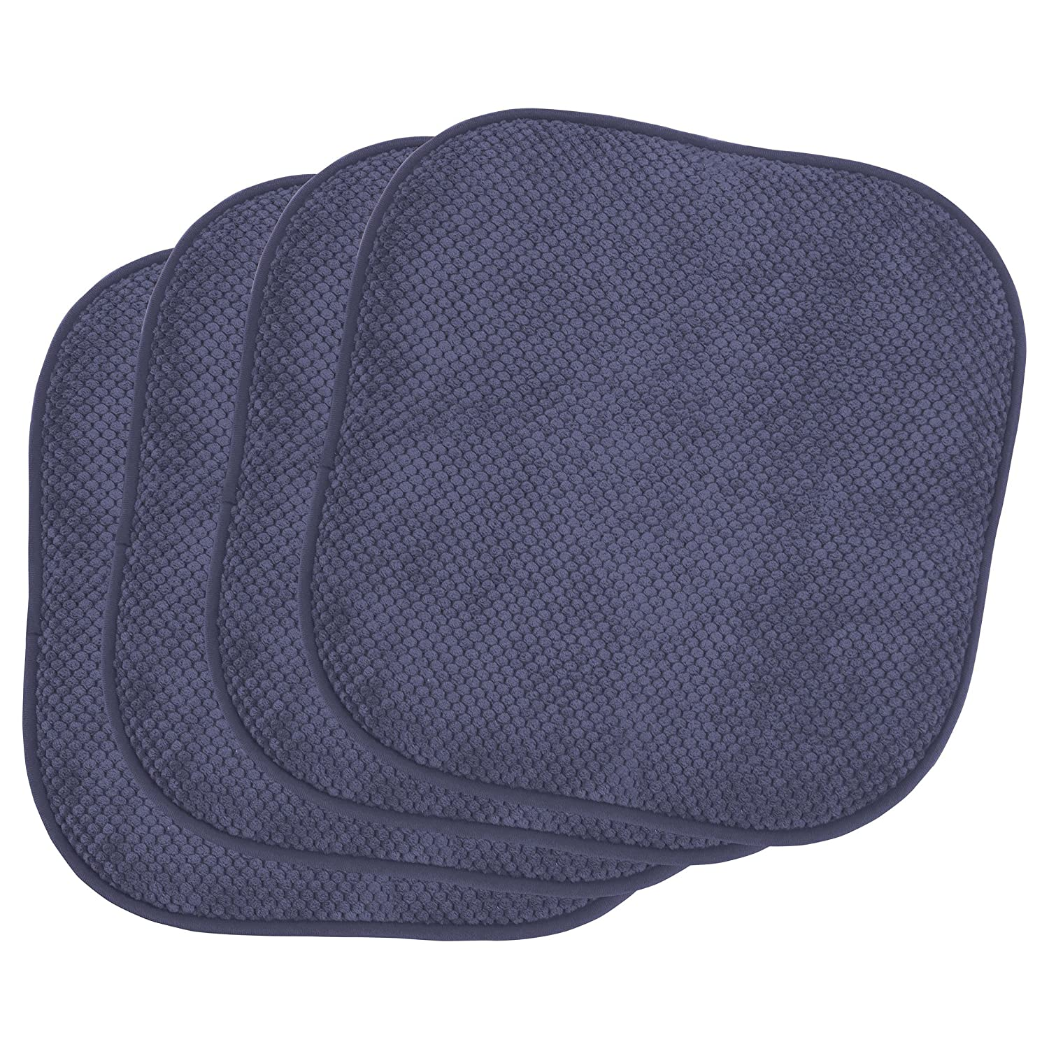 Set of 2 Black Creative Home Ideas YMO001640 Bounce Comfort Bon Appetite Memory Foam 17 x 16 in Cushioned Chair Pad