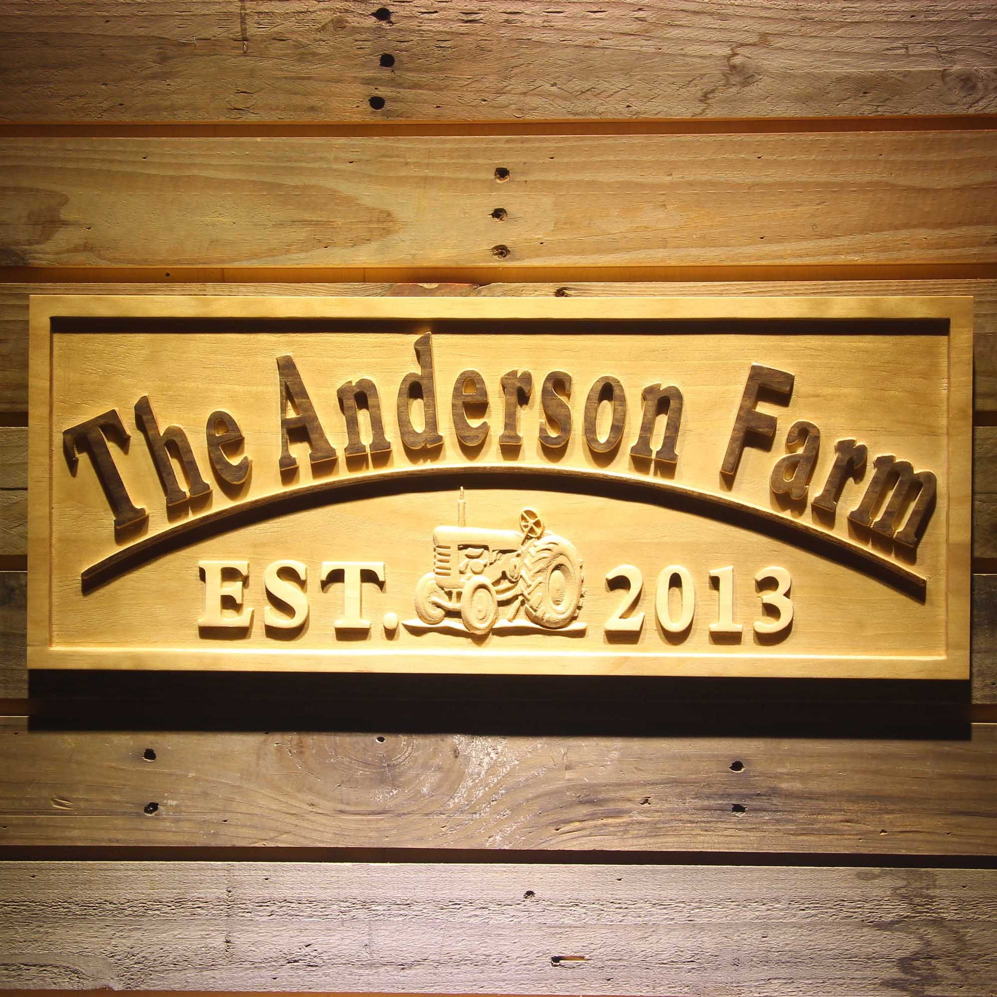 ADVPRO wpa0306 Name Personalized Farm with Tractor Home Decoration Housewarming Gifts Wood Engraved Wooden Sign - Standard 23'' x 9.25''