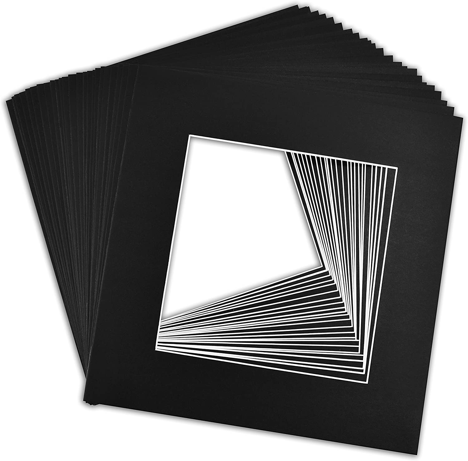 12x12 Black Picture Mats Mattes with White Core Bevel Cut for 8x8 Photo Golden State Art Pack of 25