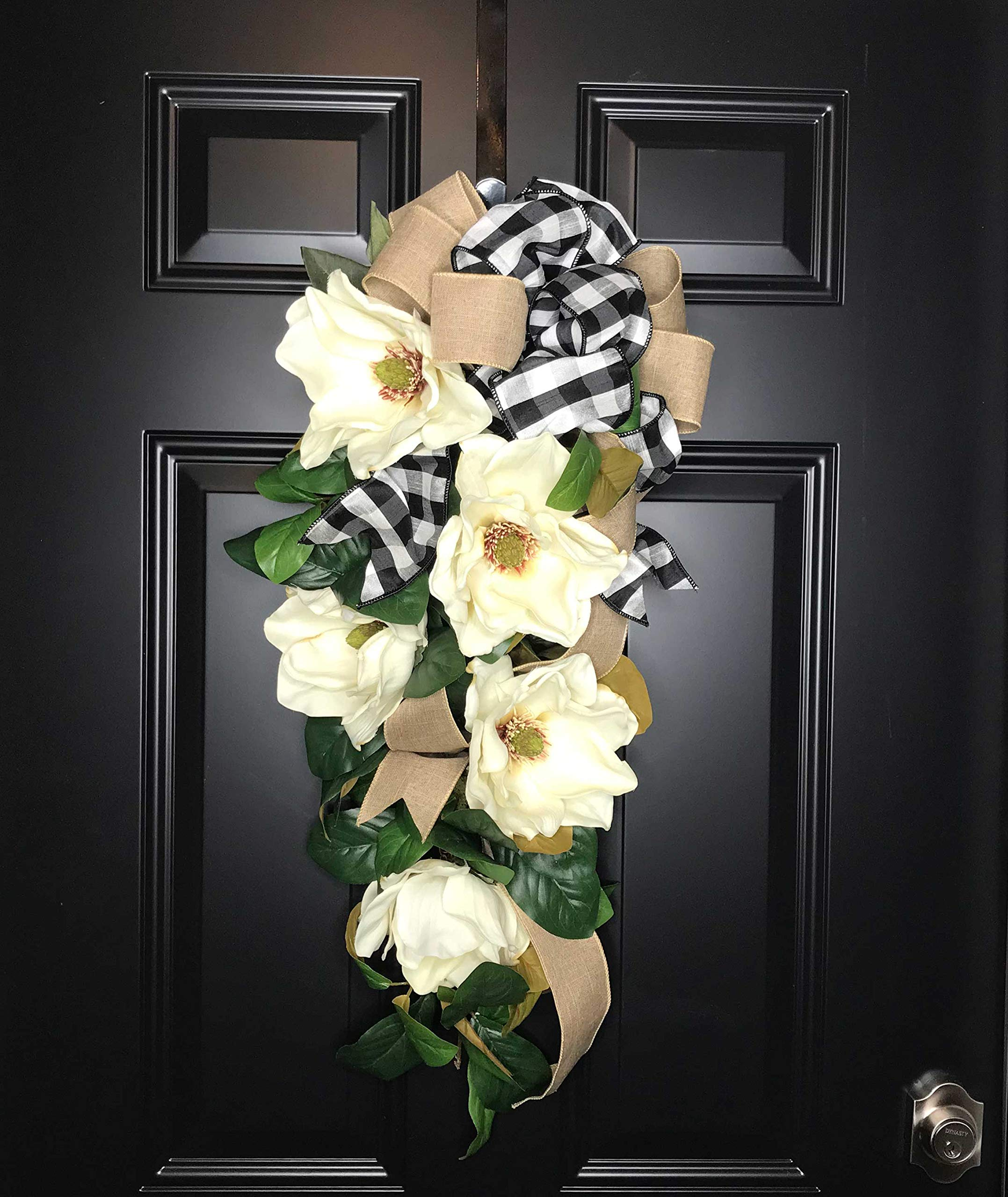 Large Southern Magnolia Teardrop Floral Swag Wreath w/Buffalo Plaid/Check Bow for Front Door Porch Indoor Wall Farmhouse Decor Spring Springtime Summer Summertime Year Round, Handmade, 30''L x 18'' W by Wreath and Vine, LLC (Image #7)